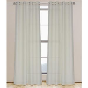 LJ Home Fashions Lianne Beige Faux Linen Grommet Curtain Set