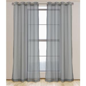 LJ Home Fashions Aura Sheer Elegant 95-in Grey Grommet Curtain Set