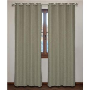 LJ Home Fashions Nordic Trends Beige Wool Like Fabric Grommet Panel Set