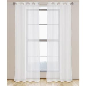 LJ Home Fashions Aura Sheer Elegant 95-in White Grommet Curtain Set