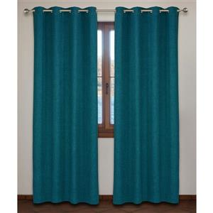 LJ Home Fashions  Nordic Trends Blue Wool Like Fabric Grommet Panel Set