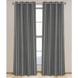 LJ Home Fashions Grey Shag Stripe Privacy Grommet Panel Set