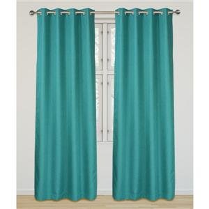 LJ Home Fashions Turquoise Room Darkening Privacy Grommet Panels