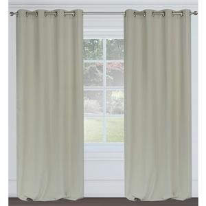 LJ Home Fashions Maestro Light Grey Linen Like Grommet Curtain Set