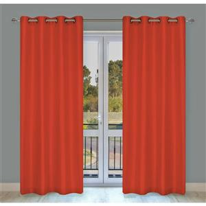 LJ Home Fashions Silkana Orange Faux Silk Grommet Panel Set