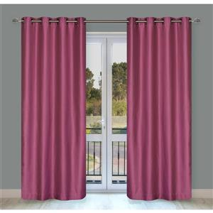 LJ Home Fashions Silkana Pink Rose Faux Silk Grommet Panel Set