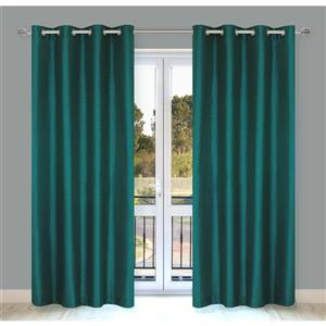 LJ Home Fashions Silkana Teal Green Faux Silk Grommet Panel Set
