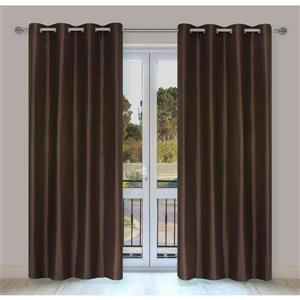 LJ Home Fashions Silkana Brown Faux Silk Grommet Panel Set