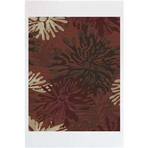 Tapis, rouge floral