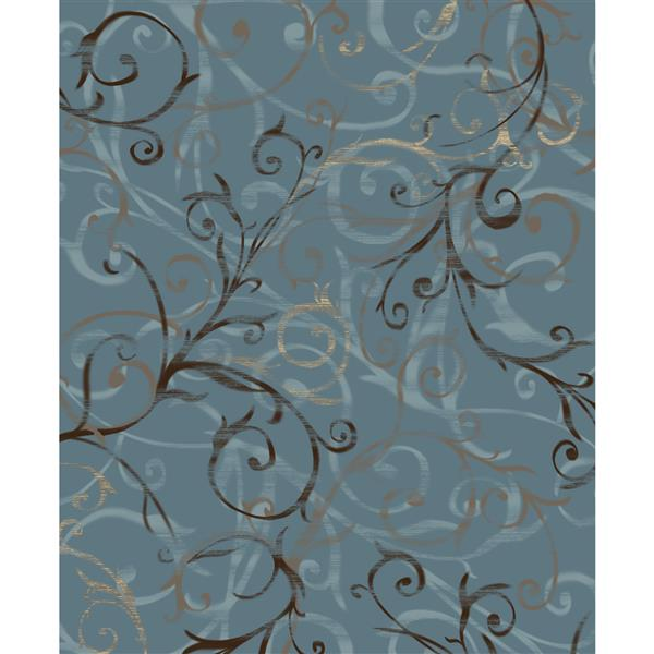 Ruggable Scrollwork 8-ft x 10-ft Slate Blue Area Rug