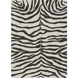 Ruggable Zebra 5-ft x 5-ft Safari Black Indoor/Outdoor Area Rug