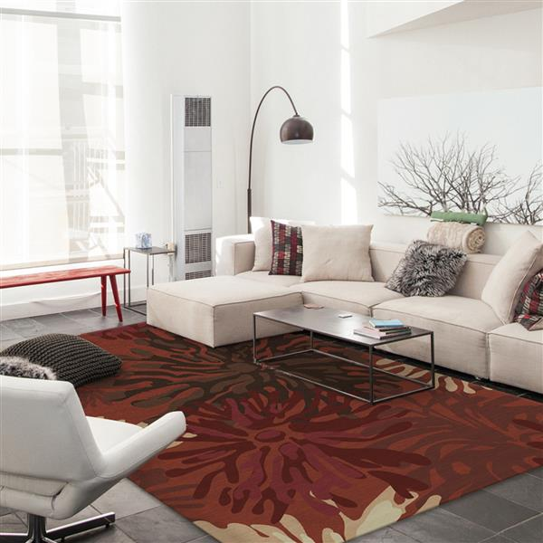 Ruggable Mum 5-ft x 7-ft Floral Red Indoor/Outdoor Area Rug