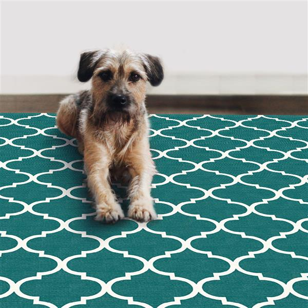 Ruggable 5-ft x 7-ft Moroccan Trellis Teal Area Rug
