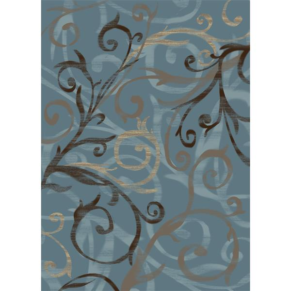Ruggable Scrollwork 5-ft x 7-ft Blue Area Rug