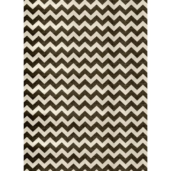 Tapis à motif chevron, 5'x7', Noir/Blanc