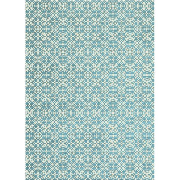 Ruggable Floral Tiles 5-ft x 7-ft Aqua Blue Indoor Area Rug