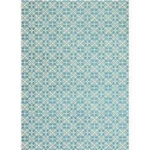 Ruggable Floral Tiles 5-ft x 7-ft Aqua Blue Indoor Area Rug