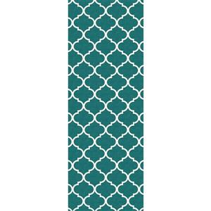 Ruggable 2-ft 6-in x 7-ft Moroccan Trellis Teal Area Rug