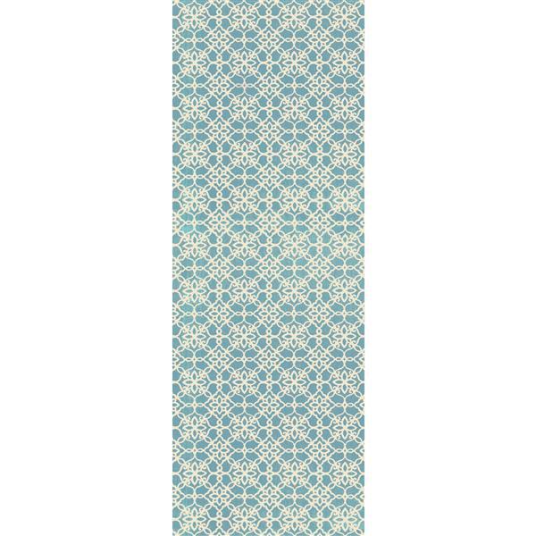 Ruggable Floral Tiles 2.5-ft x 7-ft Aqua Blue Indoor Runner Area Rug