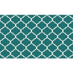 Ruggable 3-ft x 5-ft Moroccan Trellis Teal Area Rug