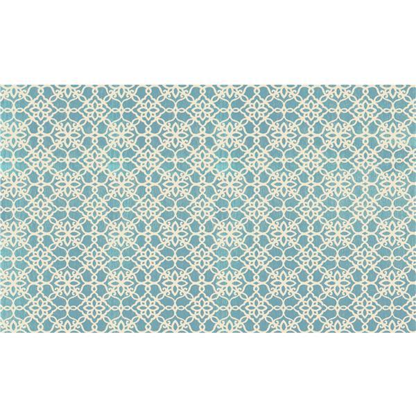 Ruggable Floral Tiles 3-ft x 5-ft Aqua Blue Indoor Area Rug
