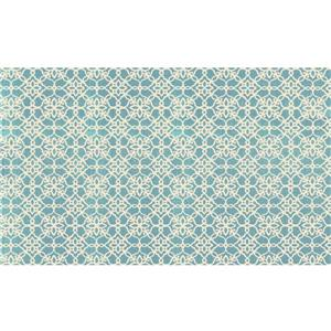 Ruggable Floral Tiles 3-ft x 5-ft Aqua Blue Indoor Area Rug
