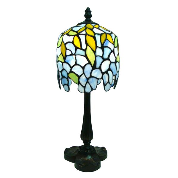 Fine Art Lighting Ltd. Tiffany Wisteria 6-in x 16-in with Vintage Bronze Base and Multi Coloured Shade Mini Table Lamp