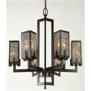 "Luminaire suspendu Manhattan à 6 lumières, Bronze, 23""x24"""