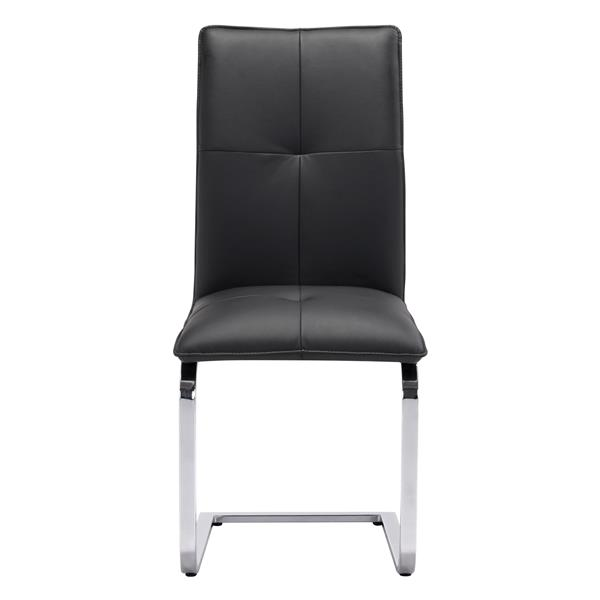 Zuo Modern Anjou Dining Chair - 19.5-in x 17-in - Faux Leather - Black - Set of 2