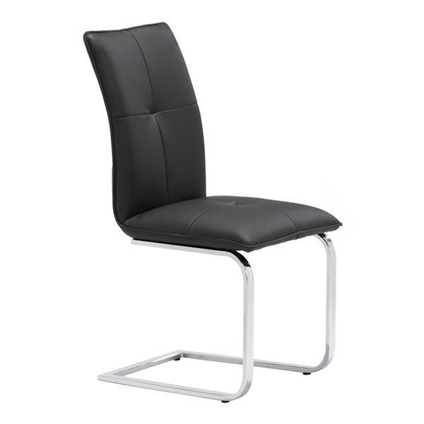 Chaise de salle à manger Anjou de Zuo Modern, 19,5 po x 17 po, simili-cuir, noir, ens. de 2