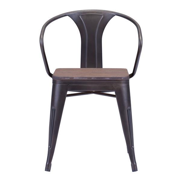 Chaise de salle à manger Helix de Zuo Modern, 18 po x 15 po, brun, ens. de 2