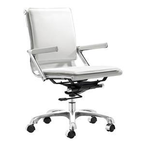 Chaise de bureau Lider Plus de Zuo Modern, 37 po x 19,5 po, simili-cuir blanc