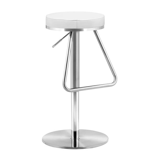 Zuo Modern Soda Bar Stool - 22-in x 14-in - Faux Leather - White