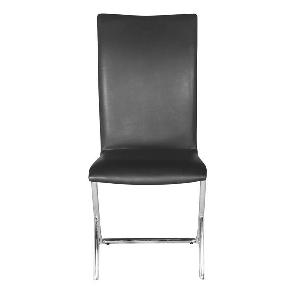 Zuo Modern Delfin Dining Chair - 17-in x 18-in - Faux Leather - Black - Set of 2