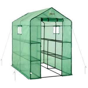 O-Grow Heavy Duty 49-in x 75-in Walk-In 2-Tier 8-Shelf Galvanized Steel Greenhouse