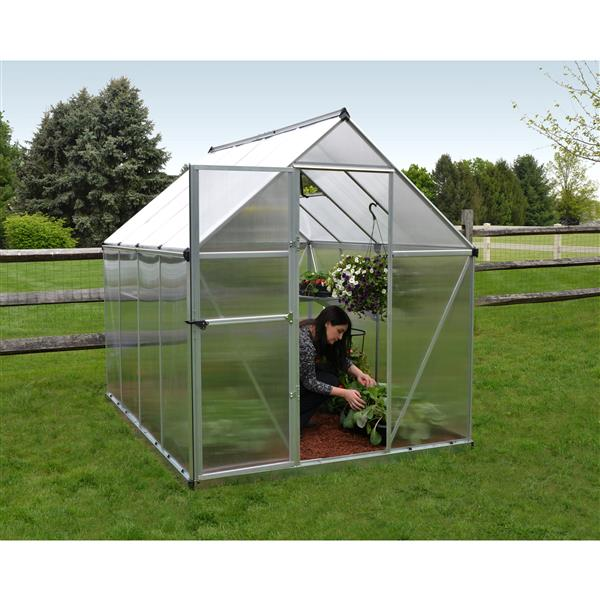Palram Mythos 6-ft x 8-ft Silver Aluminum Polycarbonate Greenhouse