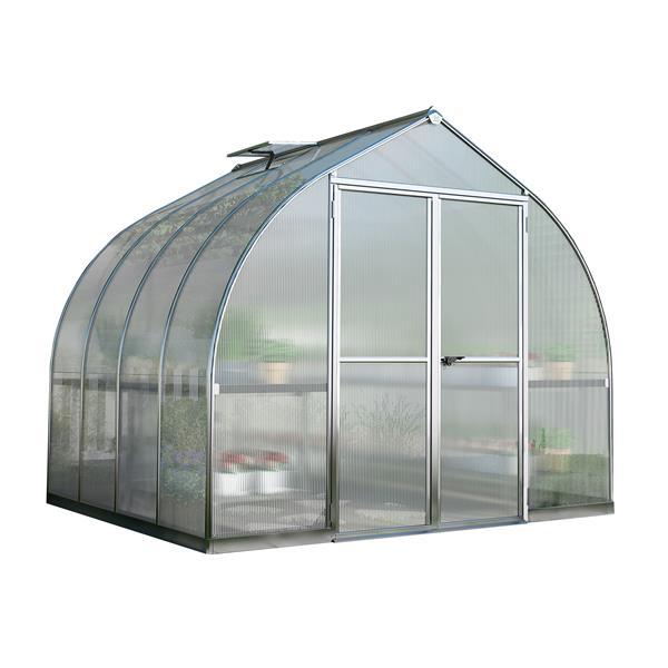 Palram Bella 8-ft x 8-ft Silver Aluminum Polycarbonate Greenhouse