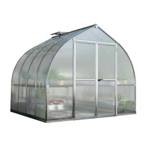 Palram Bella 8-ft x 8-ft Silver Aluminum Polycarbonate Greenhouse