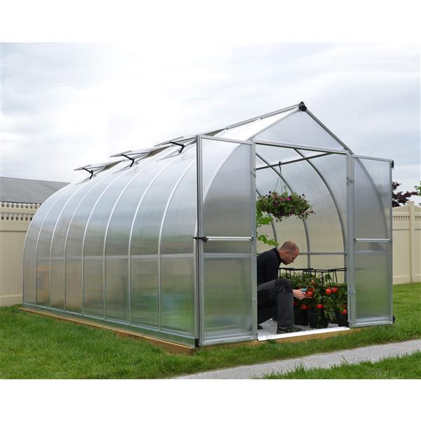 Palram Bella 8-ft x 16-ft Silver Aluminum Polycarbonate Greenhouse