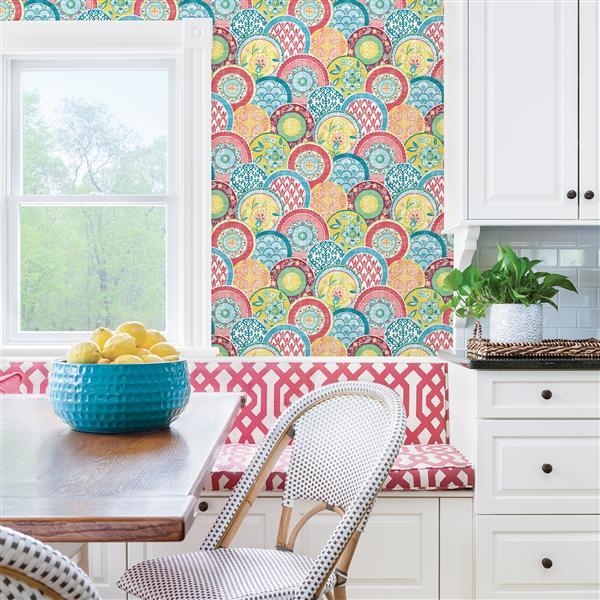 A-Street Prints Coral/Pink Laguna Plate Wallpaper
