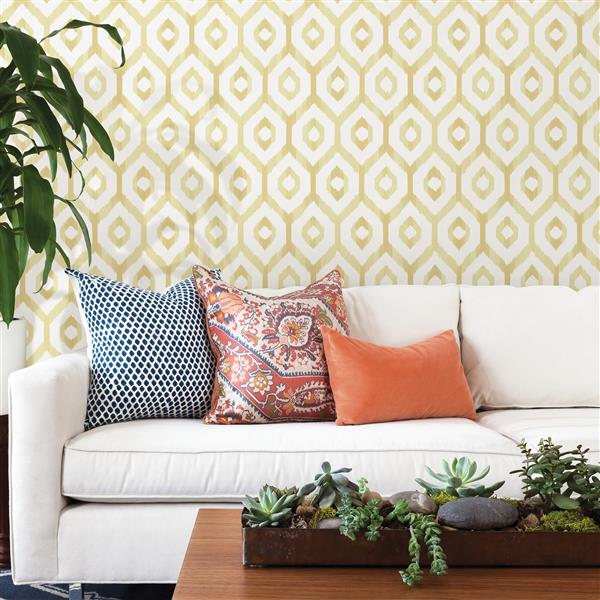 A-Street Prints Yellow Lucia Diamond Wallpaper 20.5-in