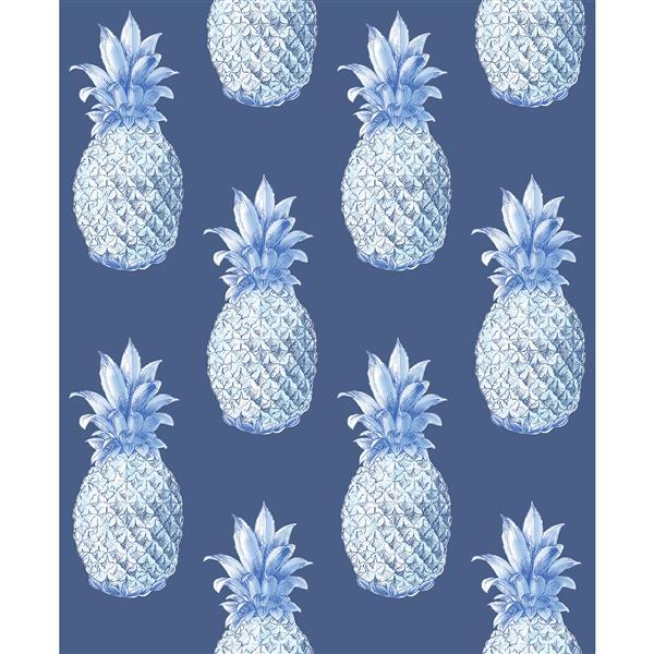 A-Street Prints Navy/Blue Copacabana Pineapple Wallpaper