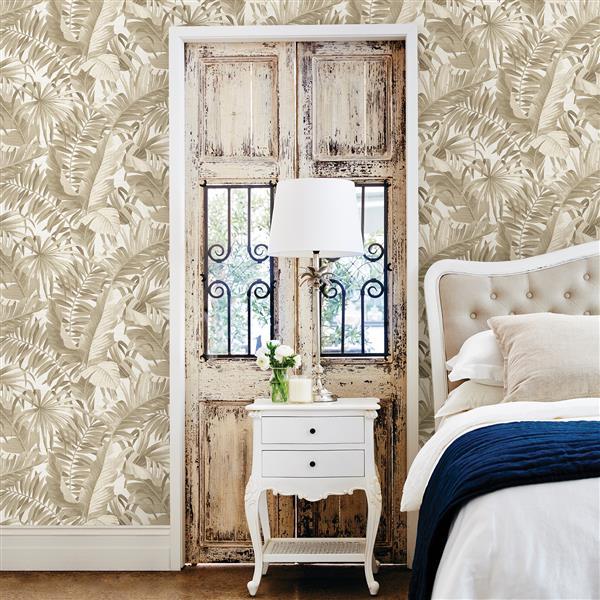 A-Street Prints 57 sq ft Taupe Alfresco Palm Leaf Wallpaper