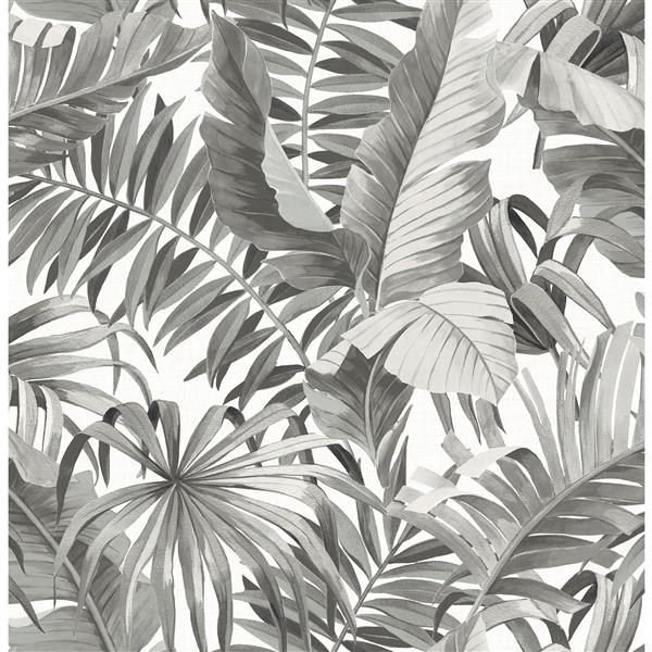 A-Street Prints 57 sq ft Black Alfresco Palm Leaf Wallpaper