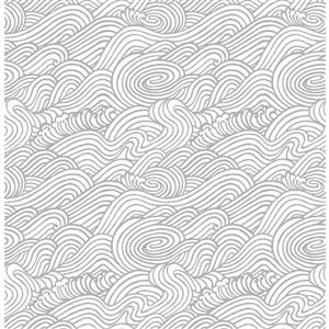 A-Street Prints Grey Mare Wave Wallpaper 20.5-in