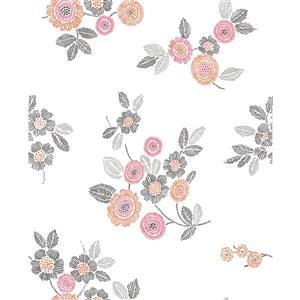 A-Street Prints Pink Malaga Floral Wallpaper 20.5-in