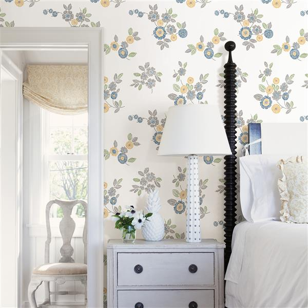 A-Street Prints Grey Malaga Floral Wallpaper 20.5-in
