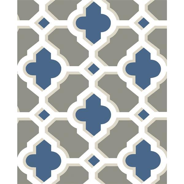 A-Street Prints Navy/Blue Lido Quatrefoil Wallpaper 20.5-in