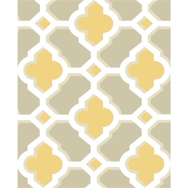 A-Street Prints Mustard/Yellow Lido Quatrefoil Wallpaper 20.5-in