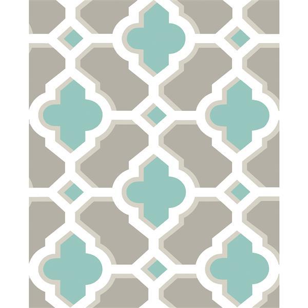 A-Street Prints Turquoise/Blue Lido Quatrefoil Wallpaper 20.5-in